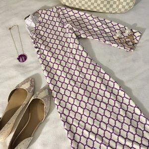 J. McLaughlin Purple and Cream & Purple Tile Dress